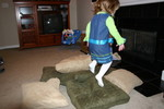Jumping in the pillows!