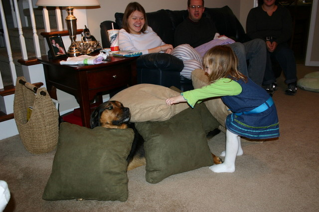 Emberly want to see if she can cover Luke in pillows.