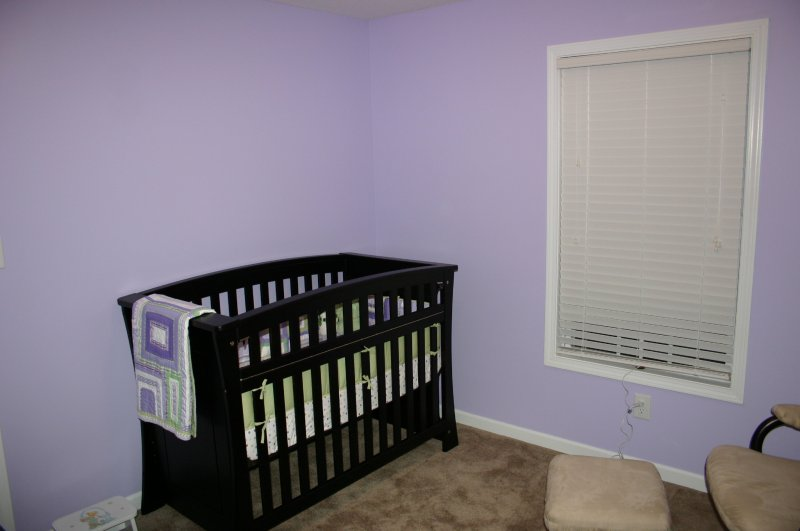 Crib (and blank wall for her name later)
